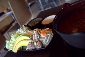 Generous side of veggies comes with hot pot order