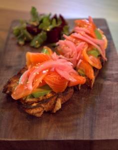 Open faced salmon sandwich