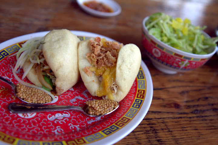 Bao buns at Ace with spoonfuls of mustard seed sauce