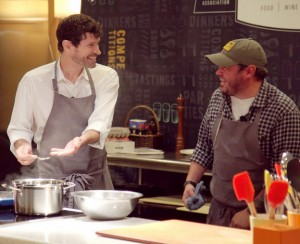 Good humor and rapport between Chefs Patterson (left) and Brock (right) on 8/2 cooking demo