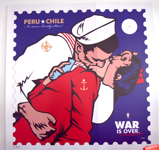 "On the wall at La Emolientería: ""Peru & Chile - The War is Over"""
