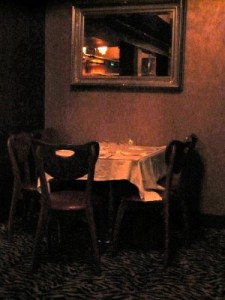 An inviting table upstairs at Bruno's