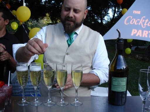 Neyah White of NOPA creates sparkling wine cocktails at Domaine Chandon's Art of the Cocktail Party in Napa