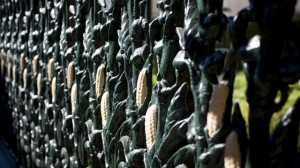 Famous cornstalk fence outside the Cornstalk Hotel