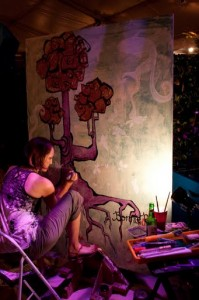 Artists painting live during the evening