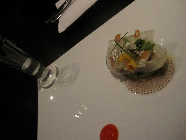 The artistry of Alinea... Pork Belly with cucumber & Thai distilliation in a glass