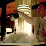 Liquid Nitrogen Caipiriniha prepared tableside from a roving cart was served as a frozen glass of ultra-boozy cachaca w/ lime & edible flowers that dissipates on the tongue