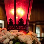 Glowing red lamps set the tone at A Restaurant