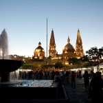 Guadalajara at night from behind the famed Cathedral in Plaza Tapatia