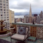 Stunning patio views from the Fairmont Penthouse atop Nob Hill
