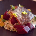 At Hillside Supper Club: Mount Lassen trout over Israeli couscous, marinated beets, horseradish yogurt