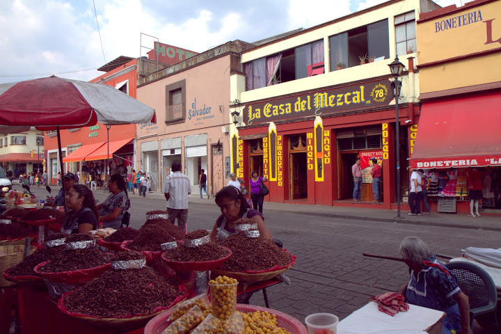 Oaxaca's oldest mezcal bar fronted by chapulines (grasshopper) sellers