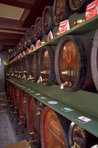 Genever casks line the wall