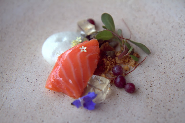 Salmon confit: lemon verbena gelee, almond gazpacho, charred cucumber relish, frozen grapes