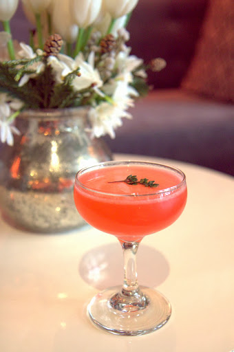 Miss Moneypenny: mulled spice-steeped vodka, Drambuie, pear, honey, lemon
