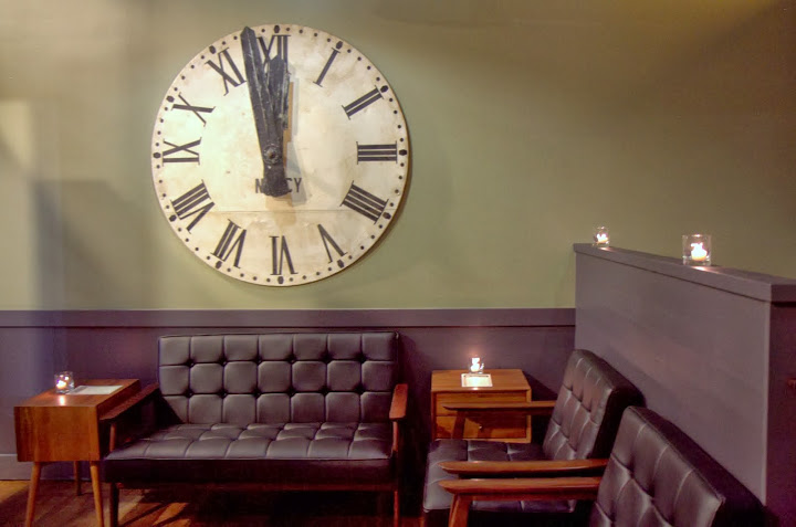 Vintage French train station clock in the bar entrance