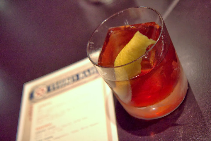 Double Date: date-infused rye, George Dickel whiskey, Punt e Mes sweet vermouth, Cardamaro, cinnamon bitters