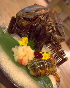 Live lobster (first served raw, then claws fried) at Izakaya Kou