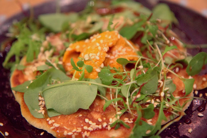 Mendocino sea urchin over ginger-scallion pancakes at State Bird Provisions