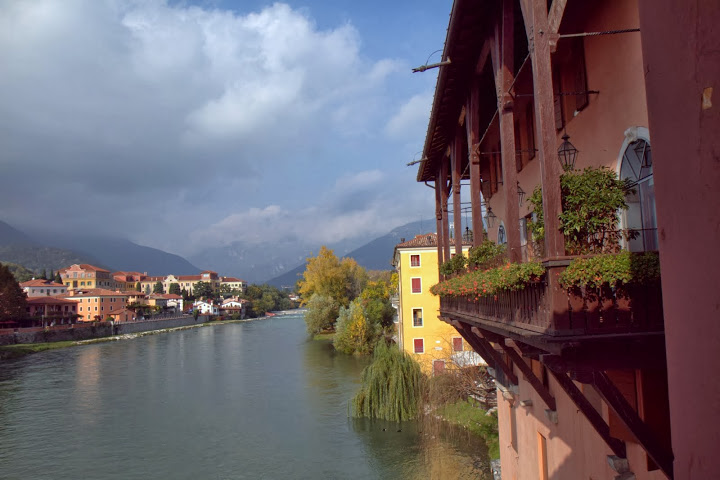 Enchanting Bassano del Grappa on a river at the base of the Italian Alps