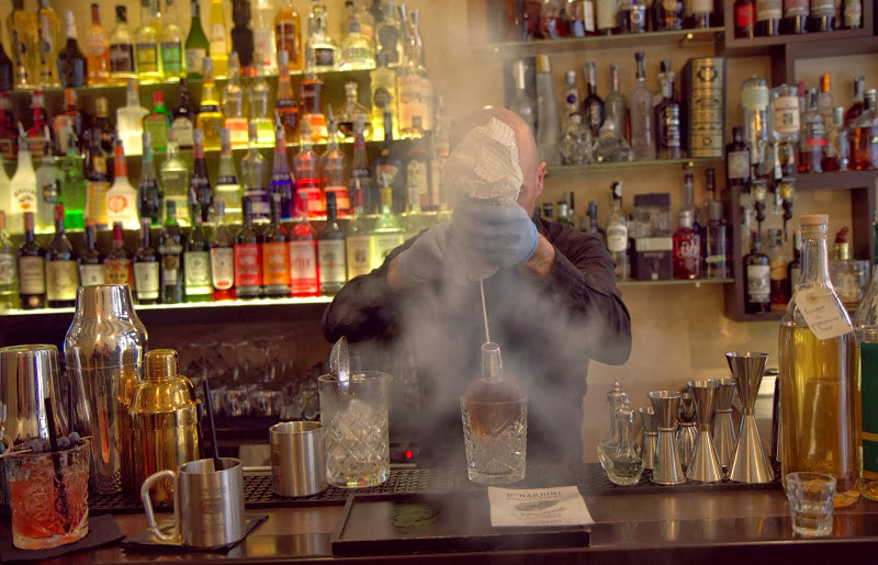 Palazzo delle Misture Nardini Manhattan flash-chilled in a bottle via liquid nitrogen