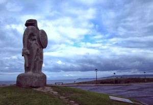 Ancient Celtic statue on the ocean in A Coruna