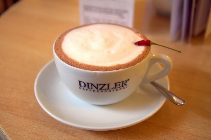 Dinzler (dinzler.de/de) is a welcome Salzburg coffee shop/cafe, although this lovely chili mocha listed with a heat warning contained little to no heat at all despite the chili