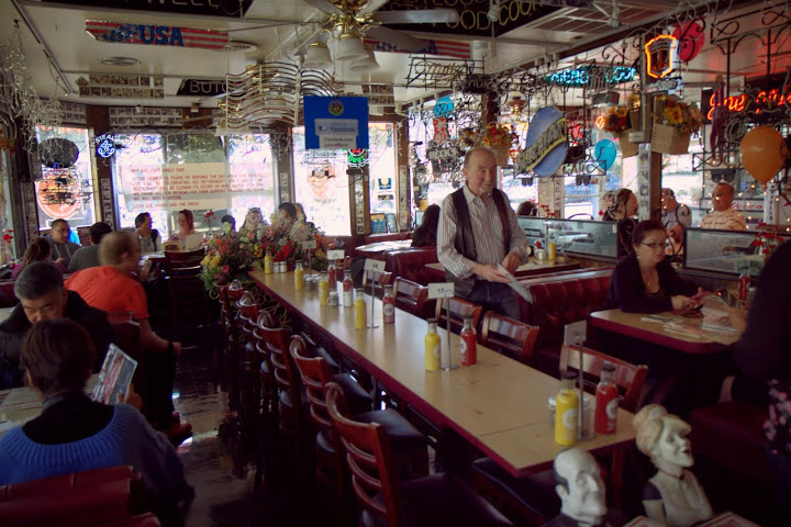 Joe keeping an eye on diner's on the diner's final morning