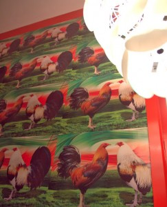 Rooster wall by the bathroom