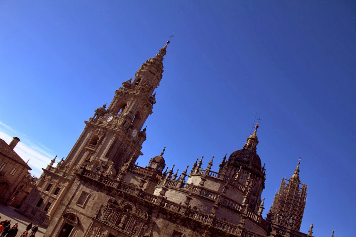The stunning cathedral in Santiago de Com