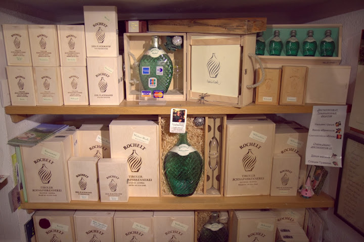 Wall of Rochelt spirits at Culinarium in Innsbruck, Austria