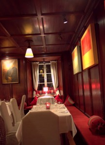 The warm woods of one of the Stiftskeller dining rooms