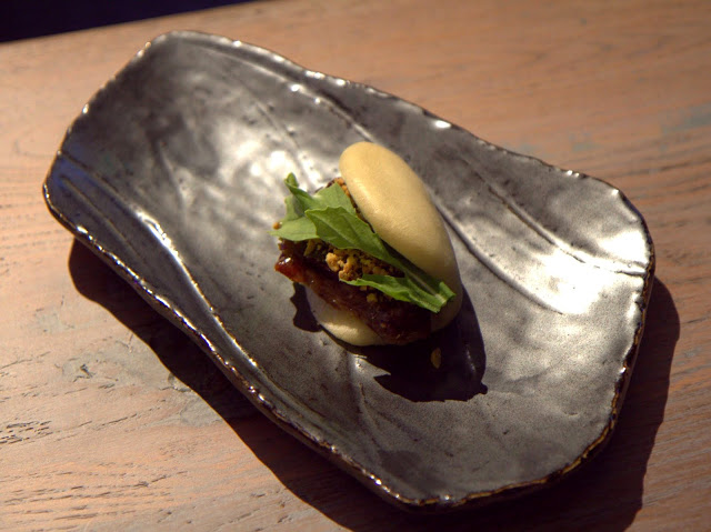 Fried lamb belly bao (steamed buns) with peanuts ($5)