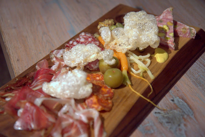 House charcuterie platter ($16) - all made in house but speck = with crackers, pickles (pickled Persian plums!)