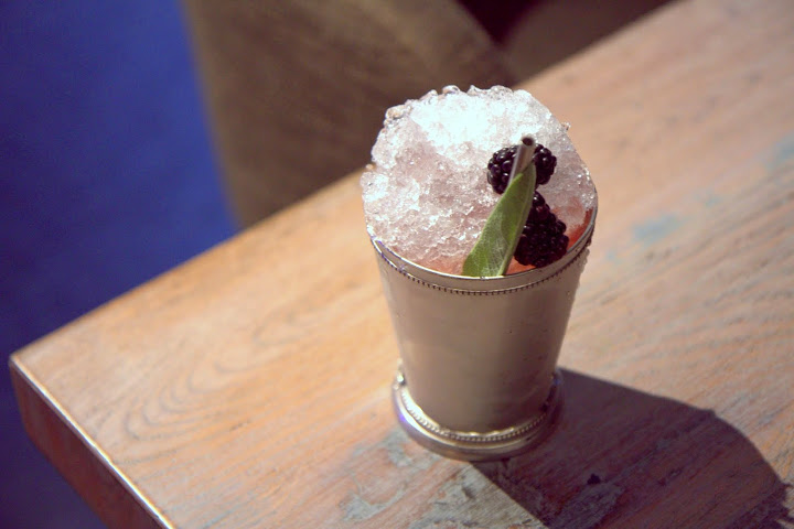 Loveable Trixter ($12) under Seasonal & Shaken: Plymouth gin, lime, blackberries, sage, crushed ice