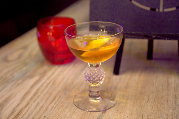 Marigold ($13) under Stirred & Sipped: Cuttysark Prohibition Edition, Luxardo Apricot, house apricot bitters, Laird's Applejack - slightly smoky-sweet, apple blossom notes
