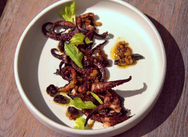 Another brilliant dish: Octopus ($16) eggplant, pine nuts, cherries  - crispy confit style