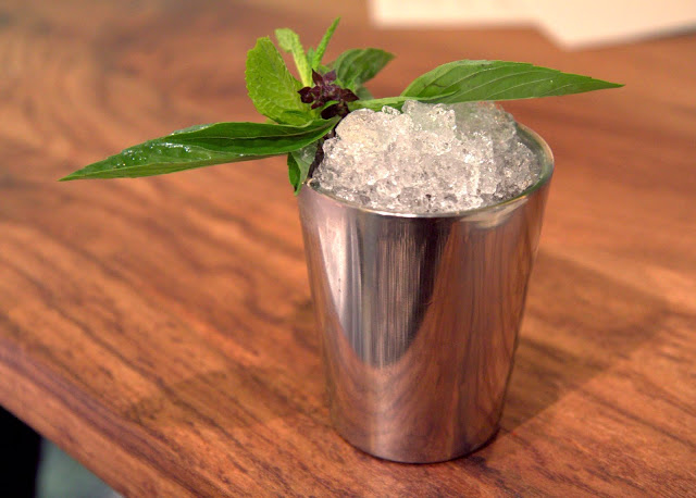 Samunprai Julep (Thai herb julep): Dickel whiskey, Mandarine Napoleon, Thai herbs, palm sugar, tea