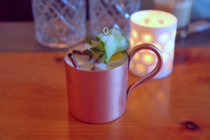 Cider cup a la Ensor (Cooling Cups & Dainty Drinks, 1869): Osocalis brandy, cider, Pur Pear, cucumber, pineapple, lemon