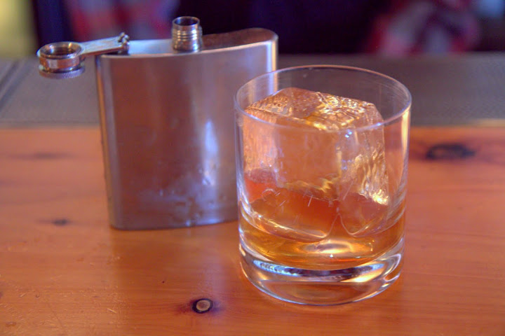 Robert Burns' Hunting Flask: Redbreast 12yr Irish whiskey, currants, ginger, lemon peel, served in a hunting flask - traditional Scottish Highlands recipe