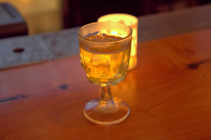 Erik - California Milk Punch: Osocalis brandy, Appleton V/X Jamaican rum, Batavia Arrack, clarified milk, spiced syrup from Jerry Thomas' Bartenders Guide: How to Mix Drinks 1862