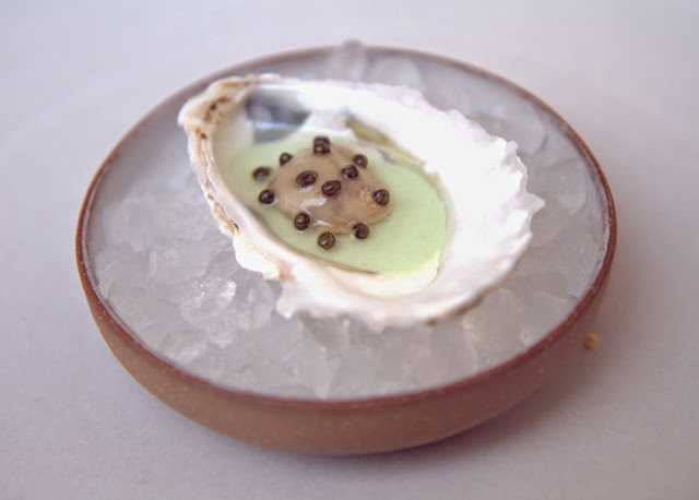 Creek oysters from Eliot, Maine, in vichyssoise & caviar