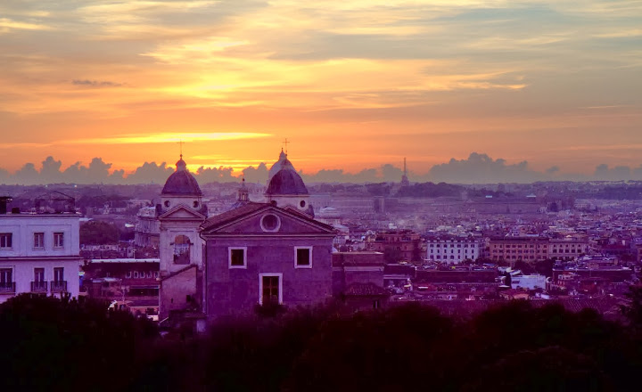 It could only be Rome: sunset from the Hotel Eden atop (just behind) the Spanish Steps... evenings in Rome are magic