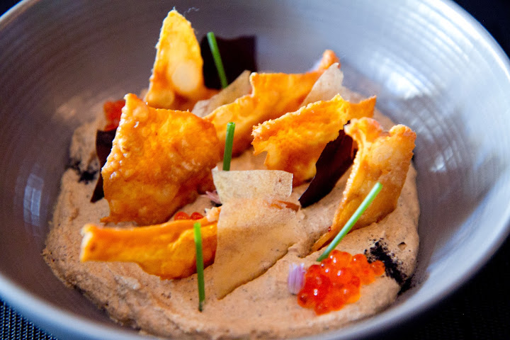 "Bar food re-imagined: chicken-skin chips dipped in smoky eggplant cream at The European (see ""Top Tastes"" & ""Imbiber"")"