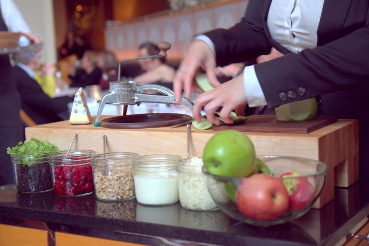 Waldorf salad prepared tableside at Eleven Madison Park