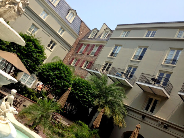 The courtyard of Nola's Maison Dupuy hotel, one of a few places I've stayed in the French Quarter - this hotel is a quiet respite in the Quarter with a pool in the coutryard