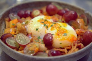 Excellent fried potatoes, grape and egg dish at Ham & Sherry