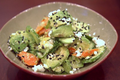 Avocado and roasted carrots