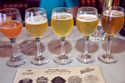 The Bruery beer flights during SF Beer Week at Fat Angel