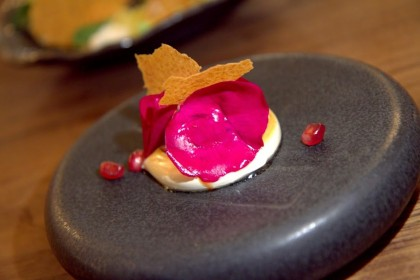 Beet & rose dessert at Mourad, one of the recent notable new restaurant openings
